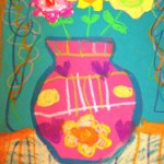 Mixed media Flower Vase Painting